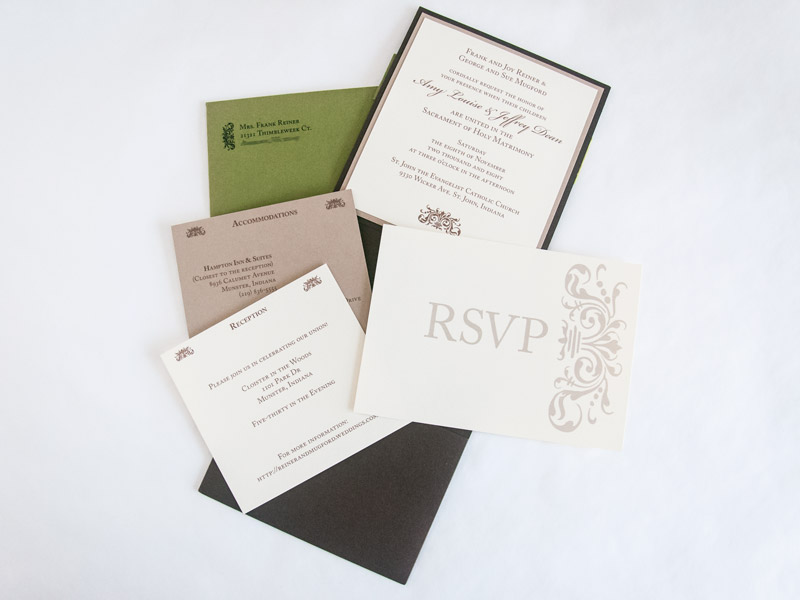 Wedding invitations custom designs yeiou paper objects frank lloyd wright inspired autumn invitations all of the enclosure cards stopboris Images