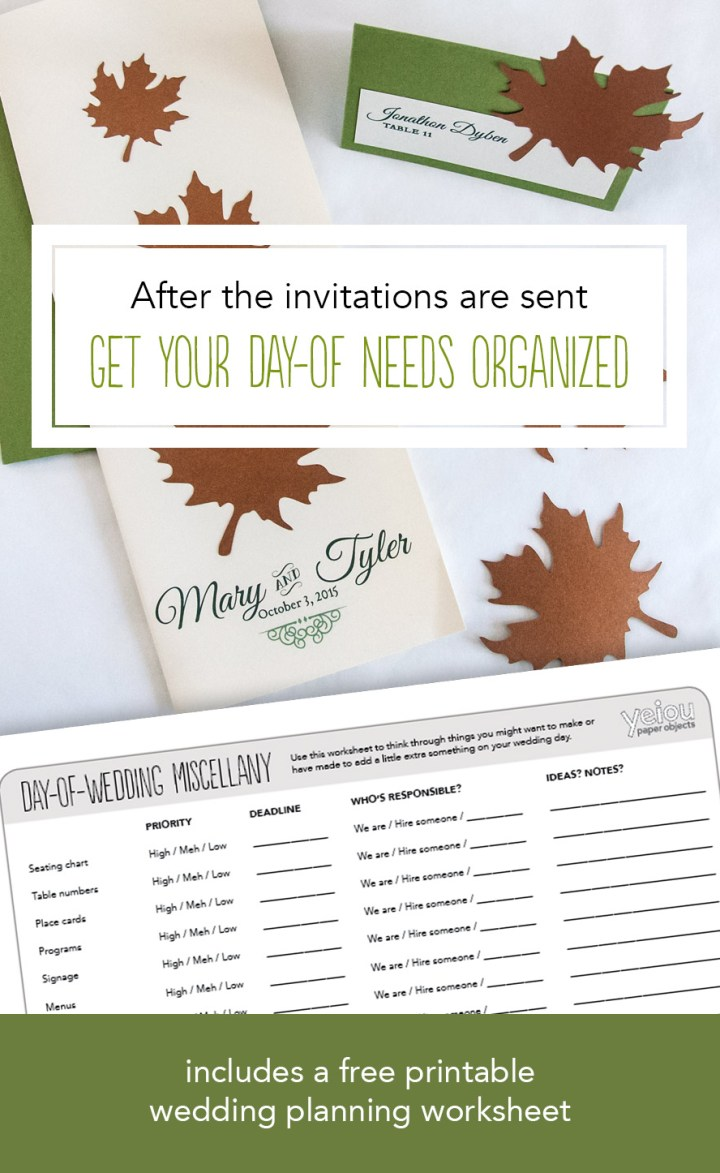 After the Invitations are Sent: Making a Plan for Day-of-Wedding needs