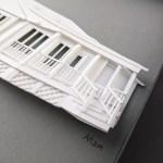 Porch detail of a custom paper house portrait