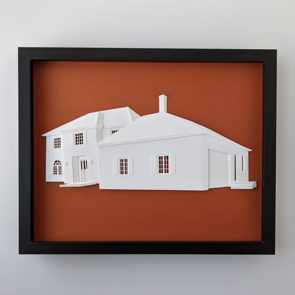Completed house portrait, framed, with an orange background.