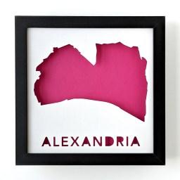 Framed map of Alexandria, Virginia