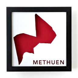 Framed map of Methuen, MA with a red background