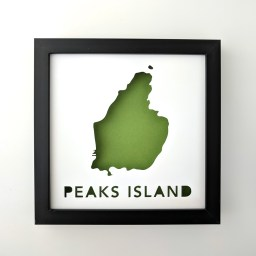 Framed map of Peaks Island with a green background