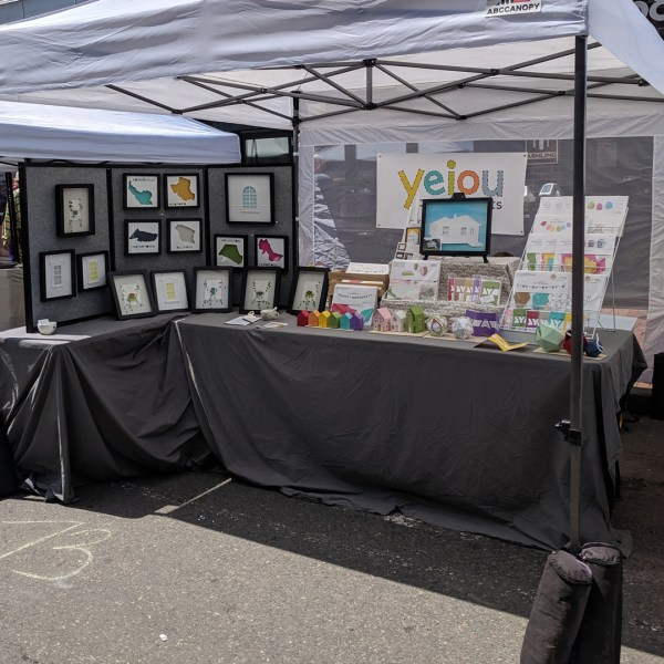 The yeiou paper objects booth popped up at Art Beat in Somerville, MA