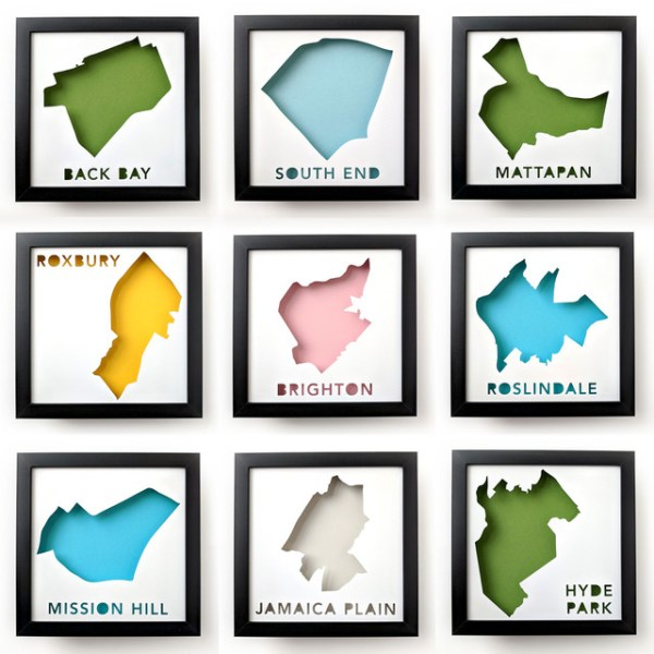 Nine maps of Boston neighborhoods: Back Bay, South End, Mattapan, Roxbury, Brighton, Roslindale, Mission Hill, Jamaica Plain, and Hyde Park