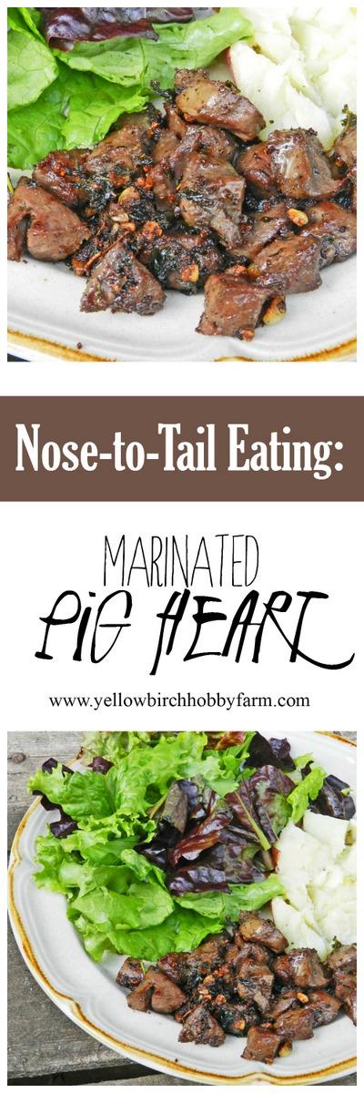 marinated pig heart- yellow birch hobby farm