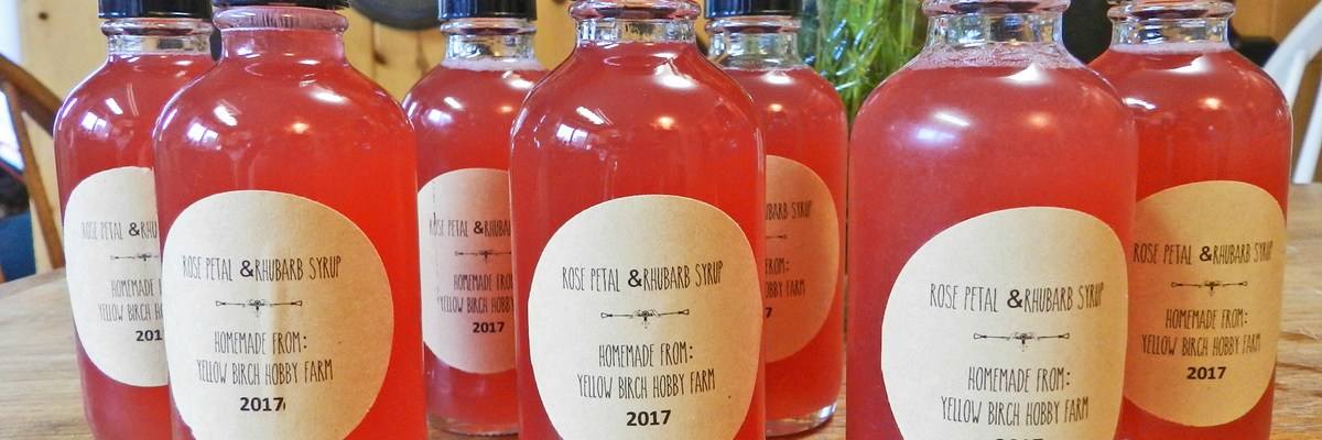 rose petal & rhubarb syrup- yellow birch hobby farm