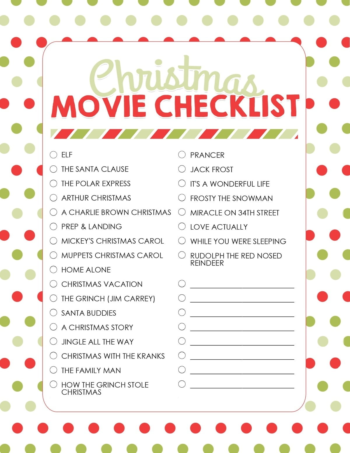 Christmas Movie Night With Free Printables Best Christmas