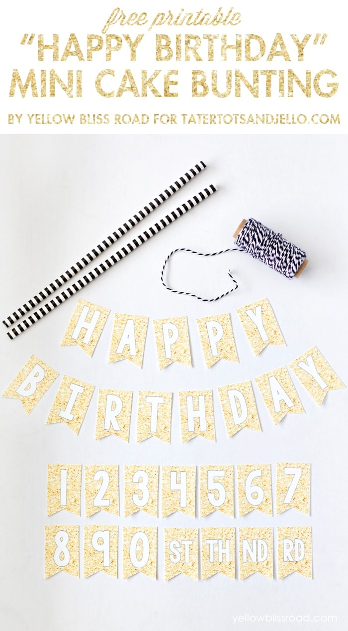 picture about Printable Cake identify No cost Printable Content Birthday Mini Cake Bunting - Tatertots
