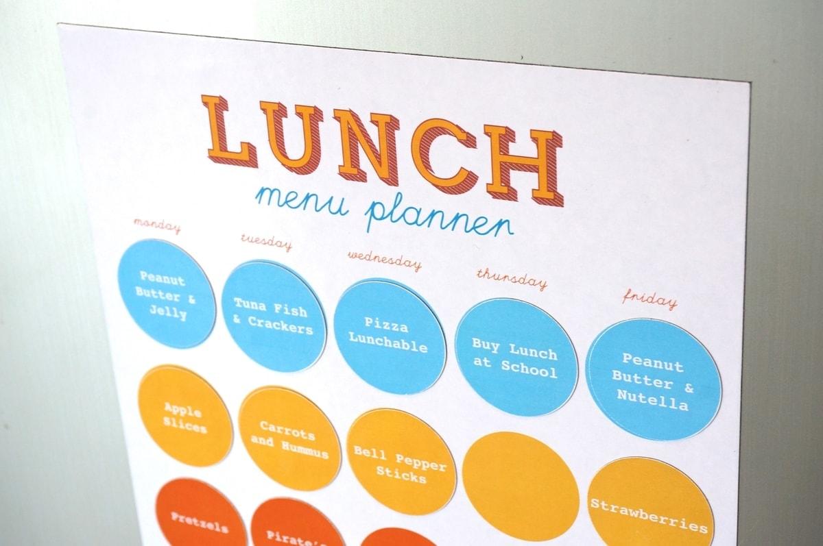 Printable Magnetic School Lunch Planner