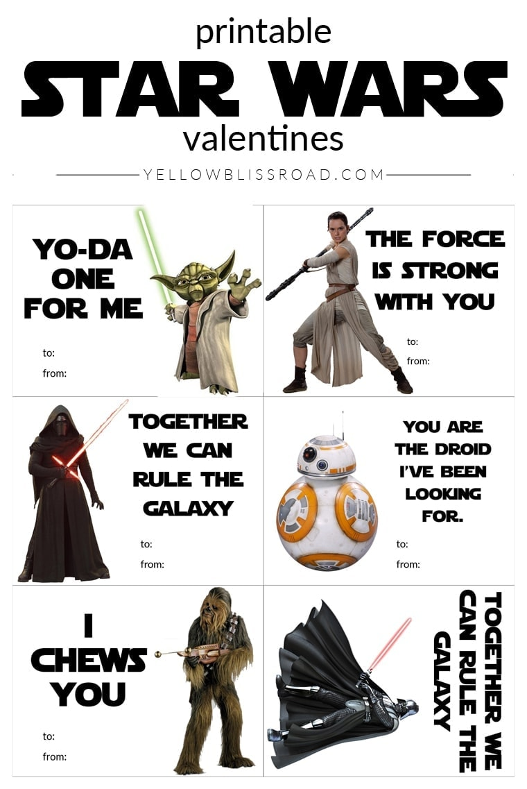 Printable Star Wars Valentine S Day Cards Yellowblissroad Com