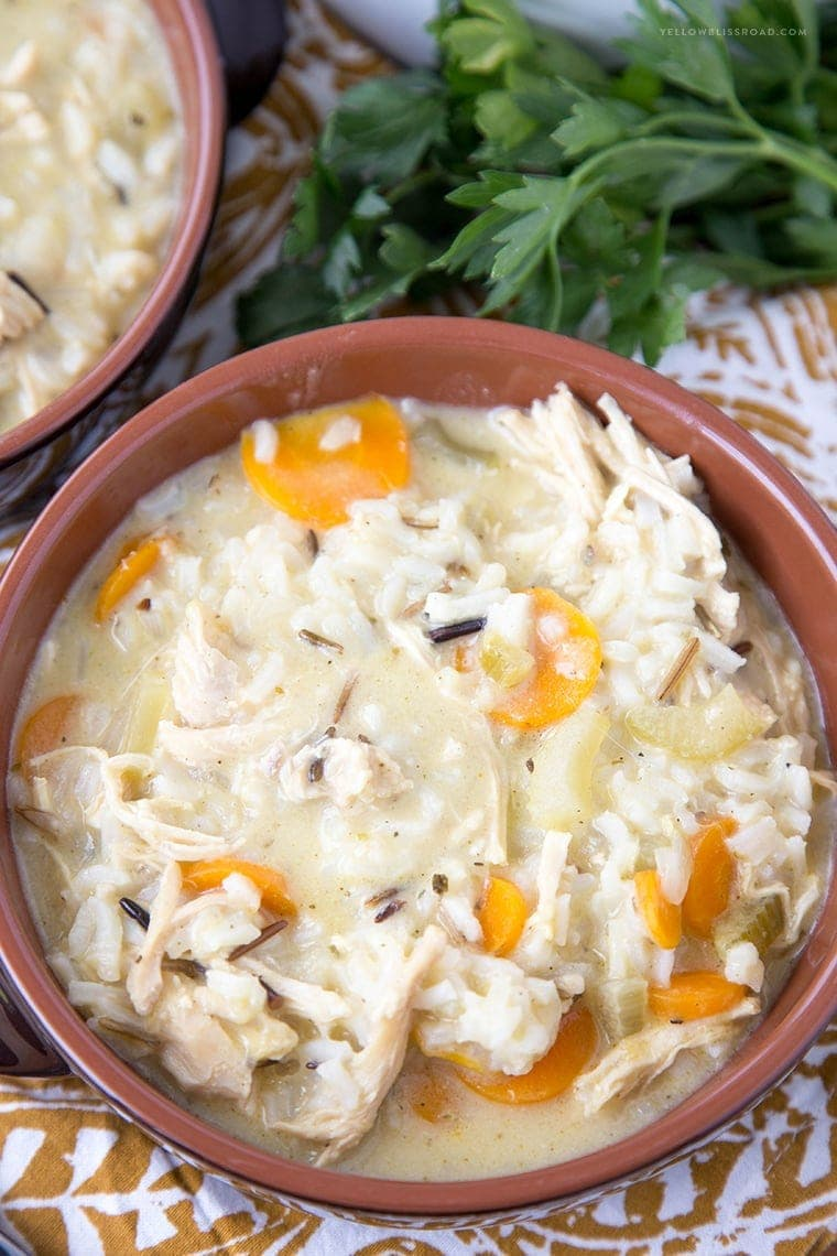 Creamy Chicken and Wild Rice Soup {Yellow Bliss Road}
