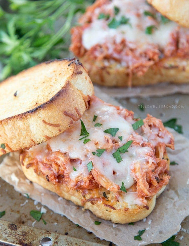 Shredded Chicken Parmesan Sandwiches {Yellow Bliss Road}