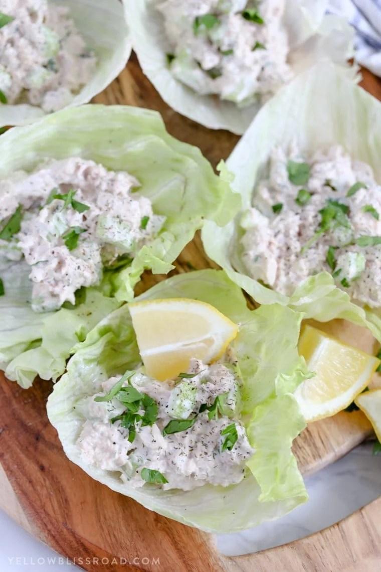 Tuna Salad Lettuce Wraps with Lemon Dill Mayo {Yellow Bliss Road}