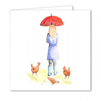 Girl with her Chickens