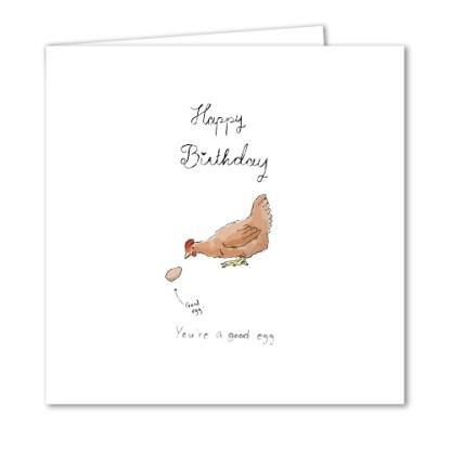 Quirky birthday card good egg