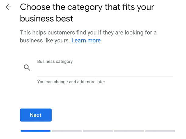 Choose the category for your business
