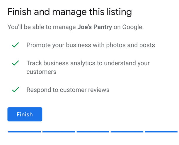 Finish and mange your Google My Business Listing