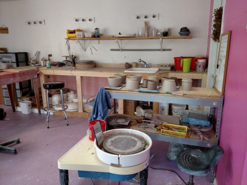This is my potters wheel and where I throw.