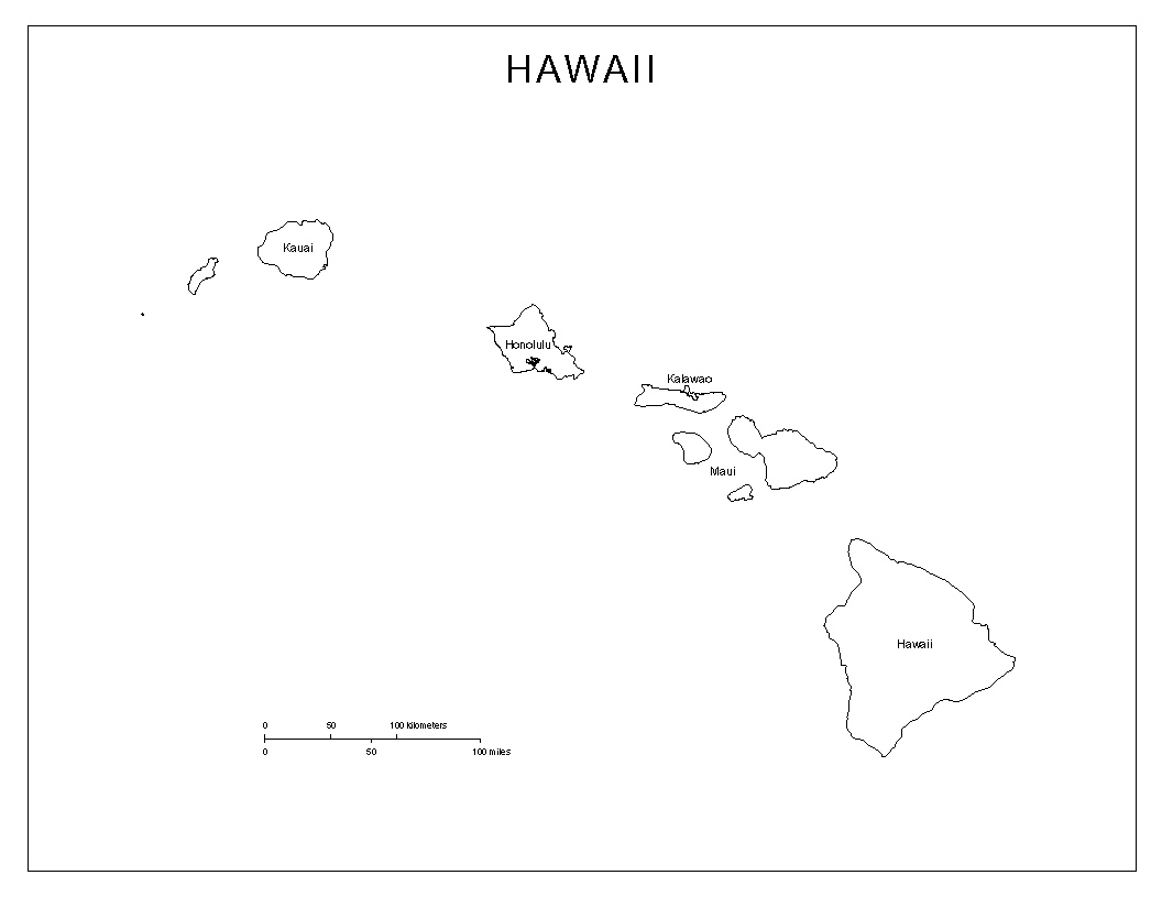 Hawaii Labeled Map