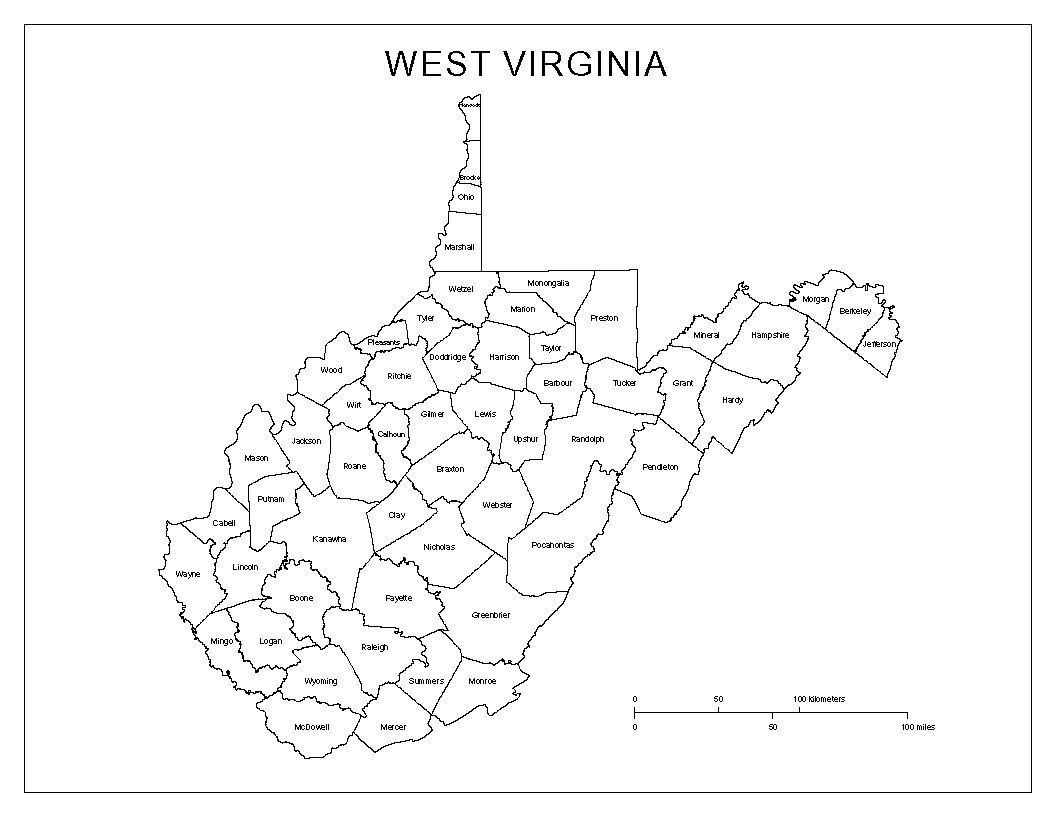 West Virginia Labeled Map
