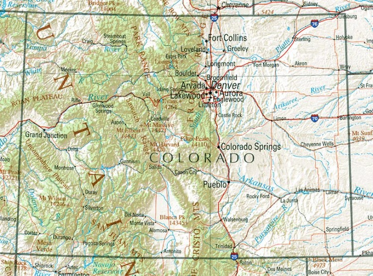 Colorado Reference Map reference map of Colorado state  CO geography map