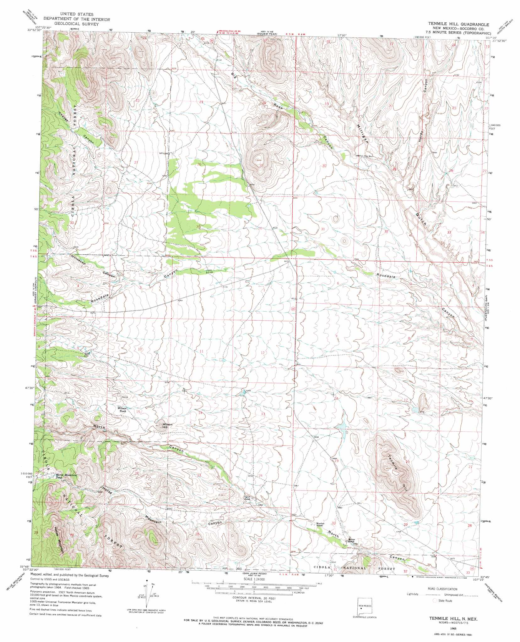 Tenmile Hill Topographic Map Nm