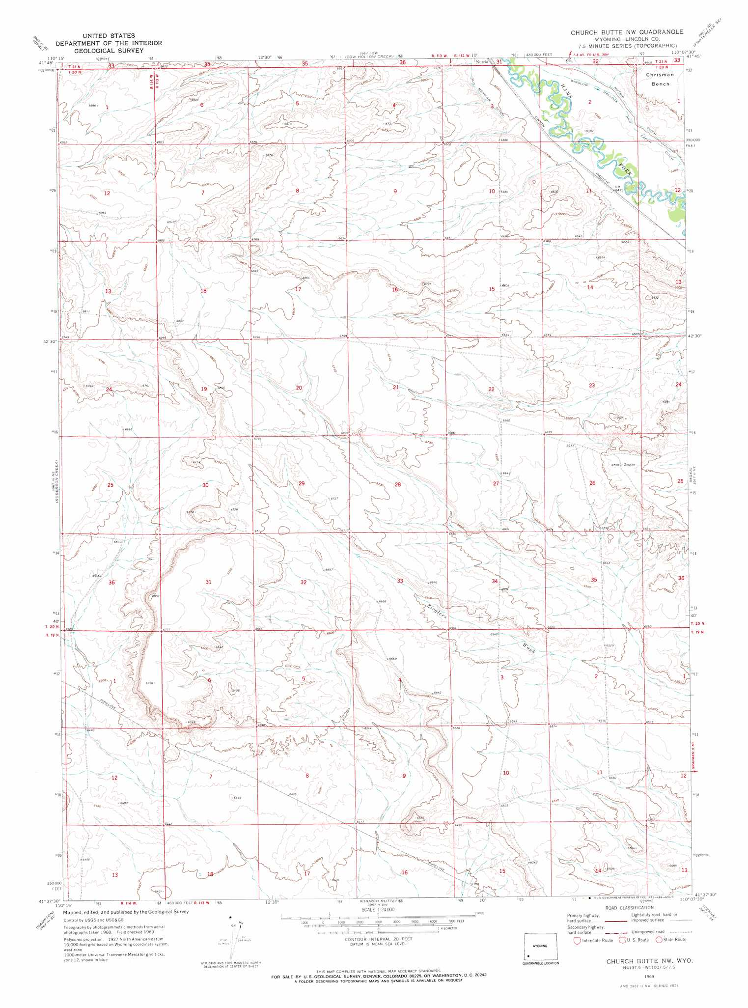 Church Butte Nw Topographic Map Wy
