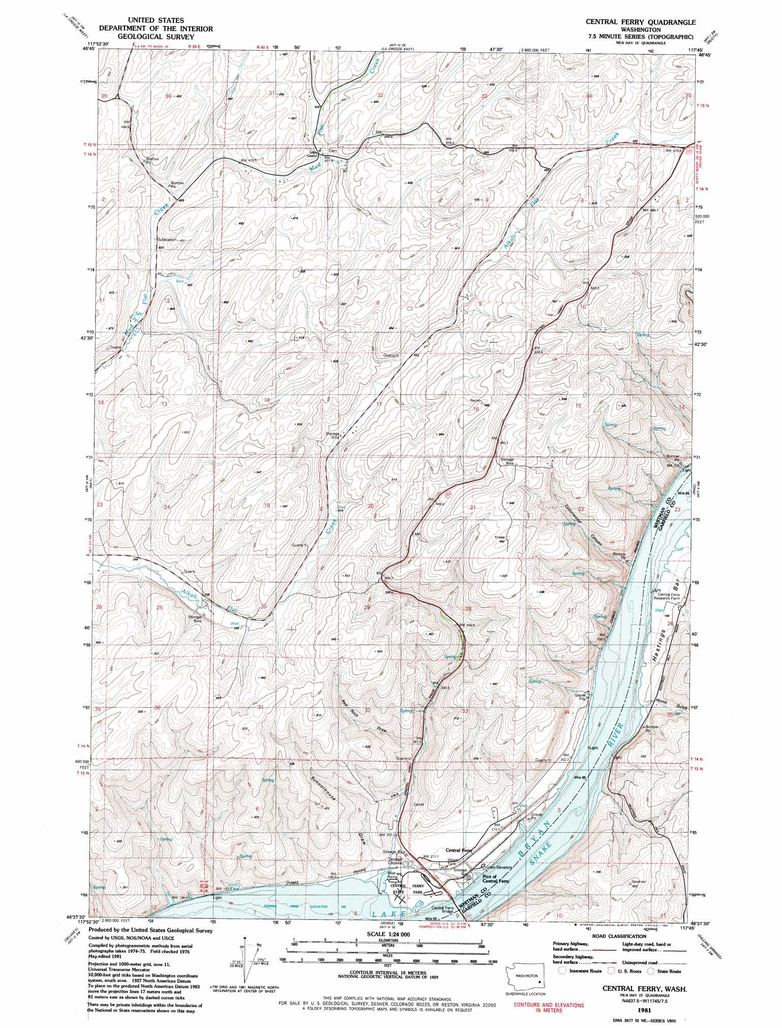 Central Ferry Topographic Map Wa