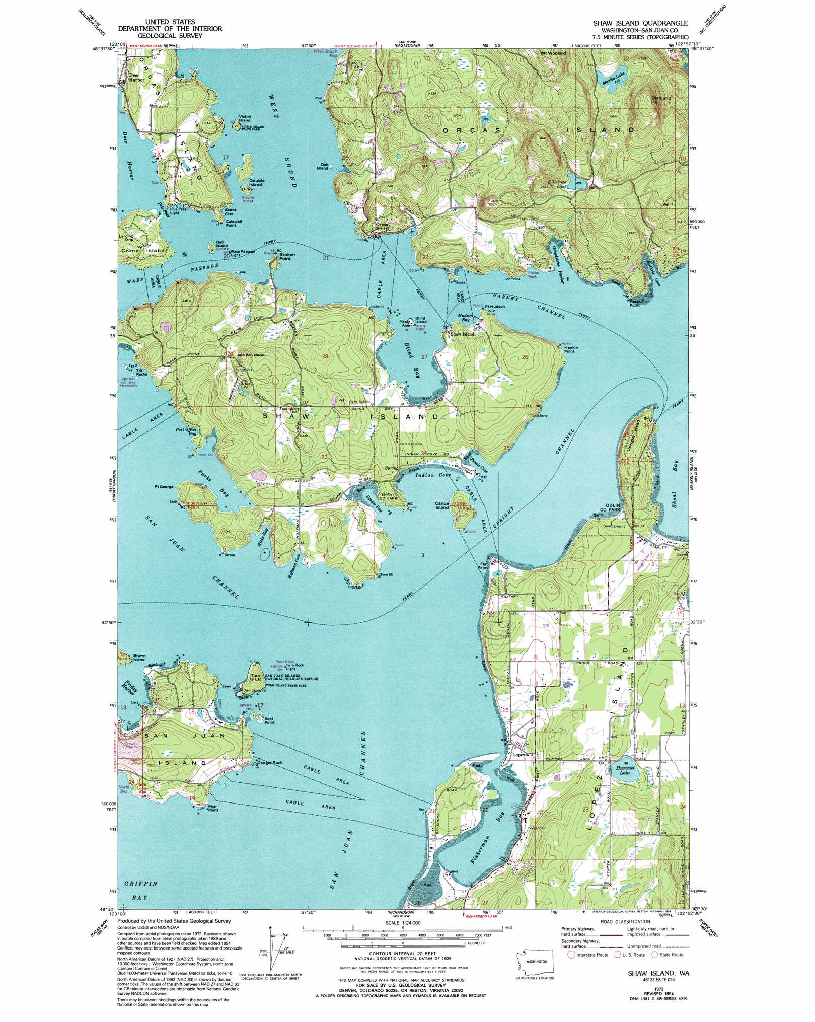 Shaw Island Topographic Map Wa
