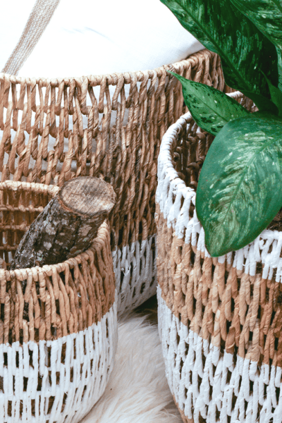 DIY Painted Wicker Baskets