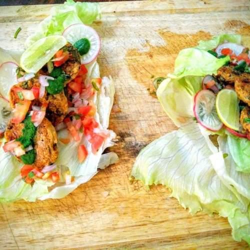 Alu Tikki Taco with Salsa and Mint chutney
