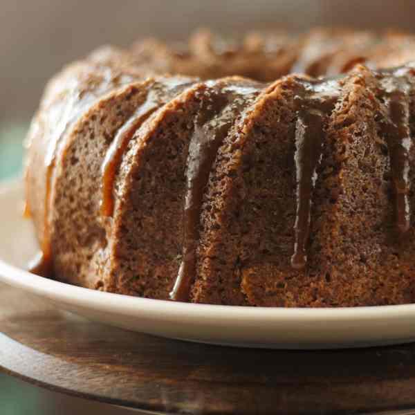 Warm Apple Cinnamon Cake with Lemon Caramel Glaze