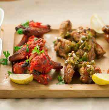 Baked Wings three ways- Tandoori , Jalapeno Chipotle and Honey Sriracha