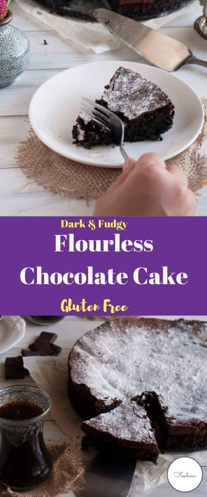 Decadent Gluten Free Flourless Chocolate Cake made with 5 easily available ingredients.This is a Super Fudgy and Dark cake.