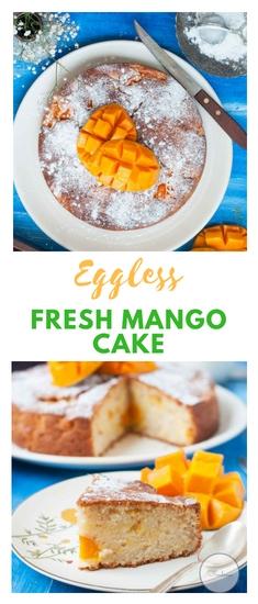 Eggless Fresh Mango Cake