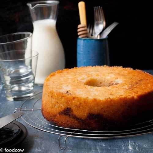 Eggless Cinnamon Cake - Vegetarian Coffee Cake with Swirls of Cinnamon