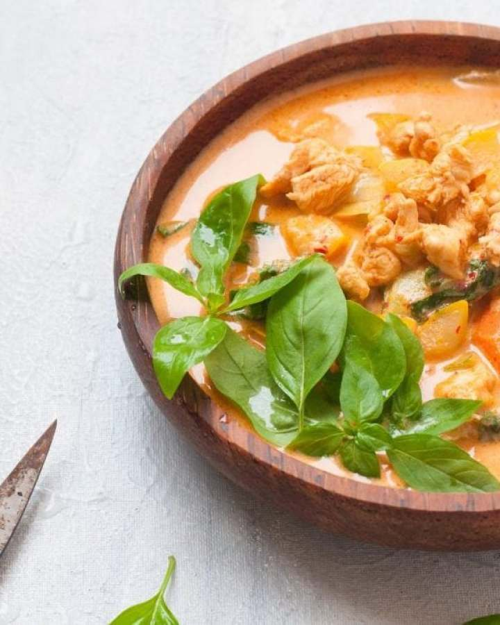 Thai Red Curry with Homemade Red Curry Paste - A spicy Coconut curry made with Red Chillies,Lemon Grass and Galangal.