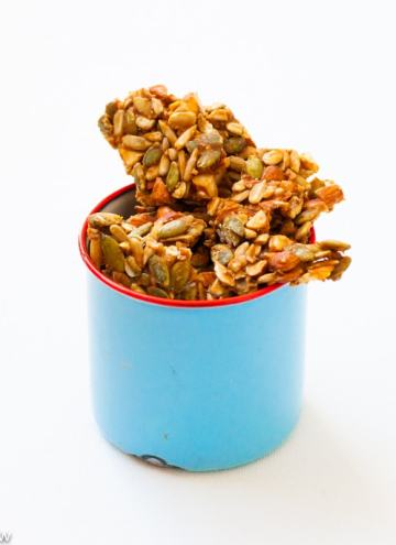 Seeds & Nuts Chikki or Brittle with healthy Sunflower & Pumpkin Seeds,Nuts and Palm Sugar or Jaggery.Delicious, easy to make healthy snack.