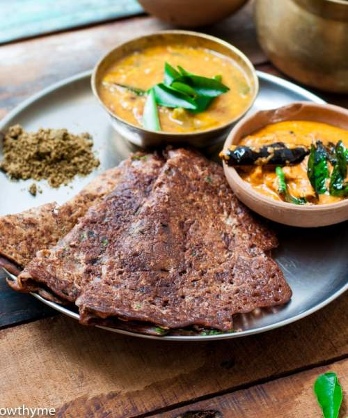 Instant Ragi Dosa recipe - Finger millet Crepe without Dairy or Wheat.