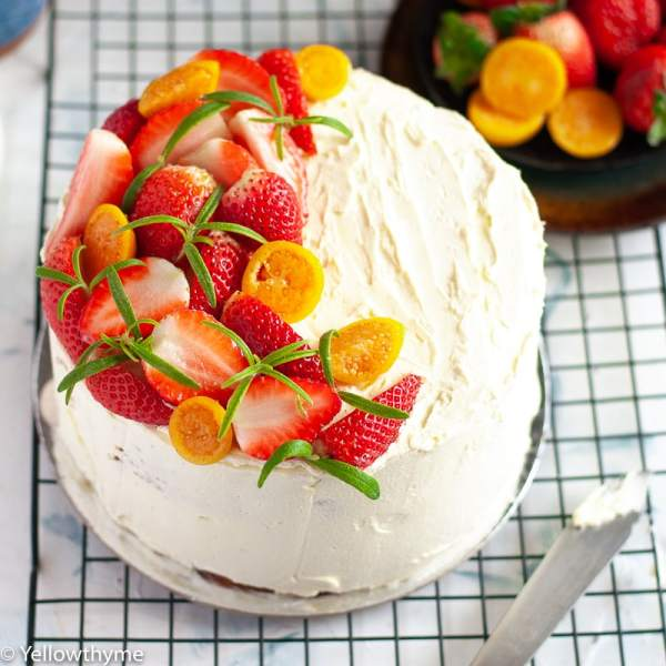 Classic ButterCream Cake - The Real Deal - Eggless Vanilla Cake with a vanilla buttercream frosting. #cake #buttercream #vanilla #strawberry #rosemary #vanillacake