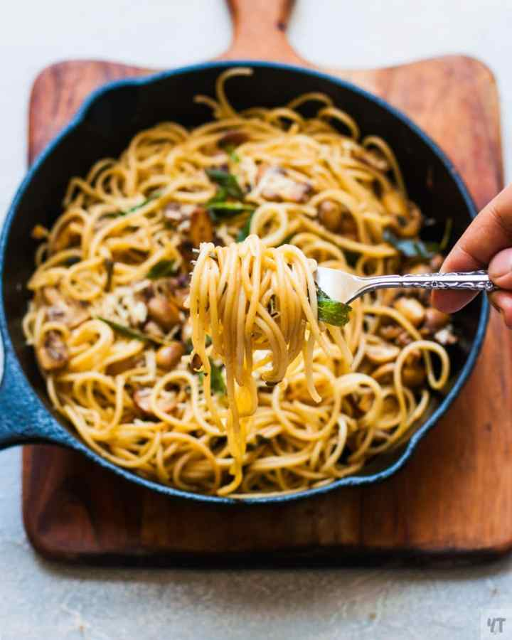 Pasta in Mushroom Butter Garlic Sauce - Easy Weeknight Pasta dinner made with Butter, Olive Oil, garlic, herbs , pasta and parmesan Cheese.