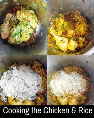Cooking the chicken for Instant Pot Chicken Biryani