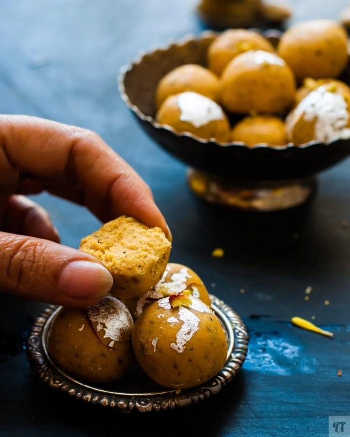 Besan Ladoo or Besan ke Laddu in hand