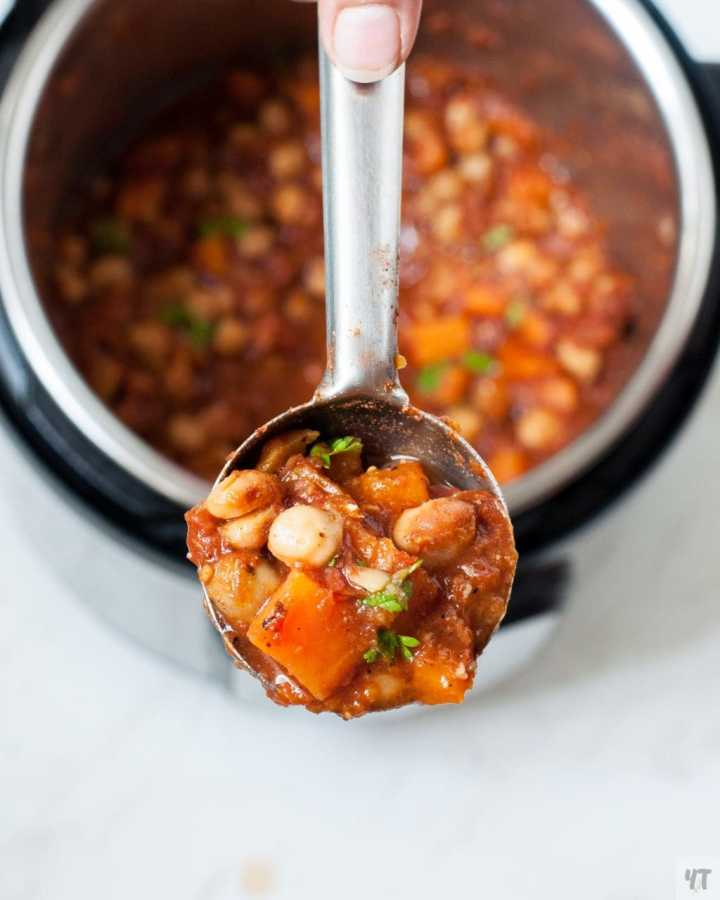 Instant Pot Moroccan Chickpea Stew in a ladle