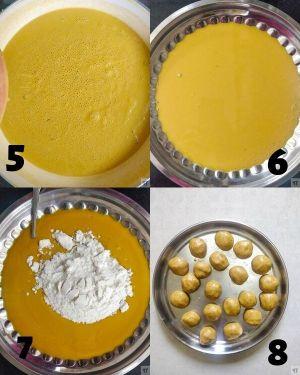 making and shaping of besan laddu