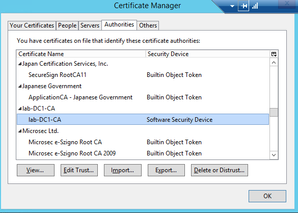 Root cert imported into Firefox
