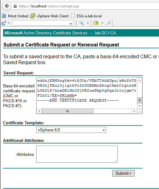 Custom certificate on the outside vmware ca vmca on the inside submit certificate request to ms ca yelopaper