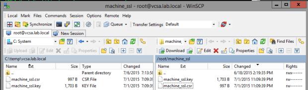 WinSCP copy CSR from VCSA
