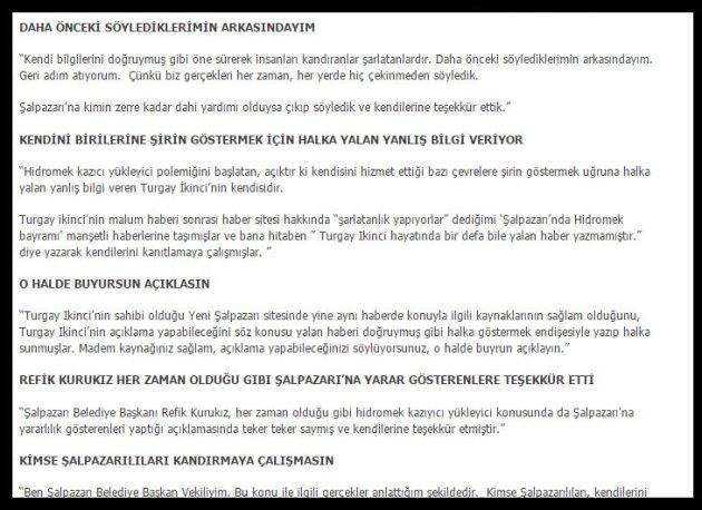 Mustafa Özendi'nin şahsımla ilgili çirkin ve yakışıksız ifadelerinin yer aldığı yazı